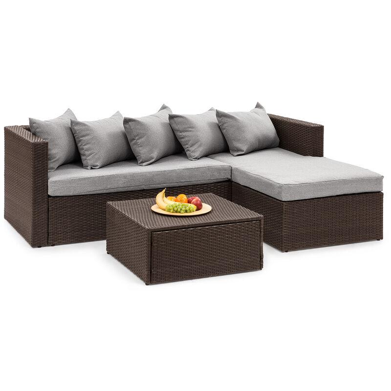 Blumfeldt - Theia Lounge Salon de jardin complet polyrotin marron & gris clair