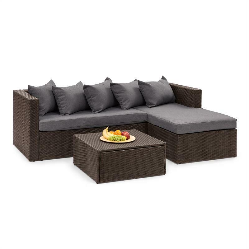 Blumfeldt - Theia Lounge Salon de jardin complet polyrotin marron & gris foncé