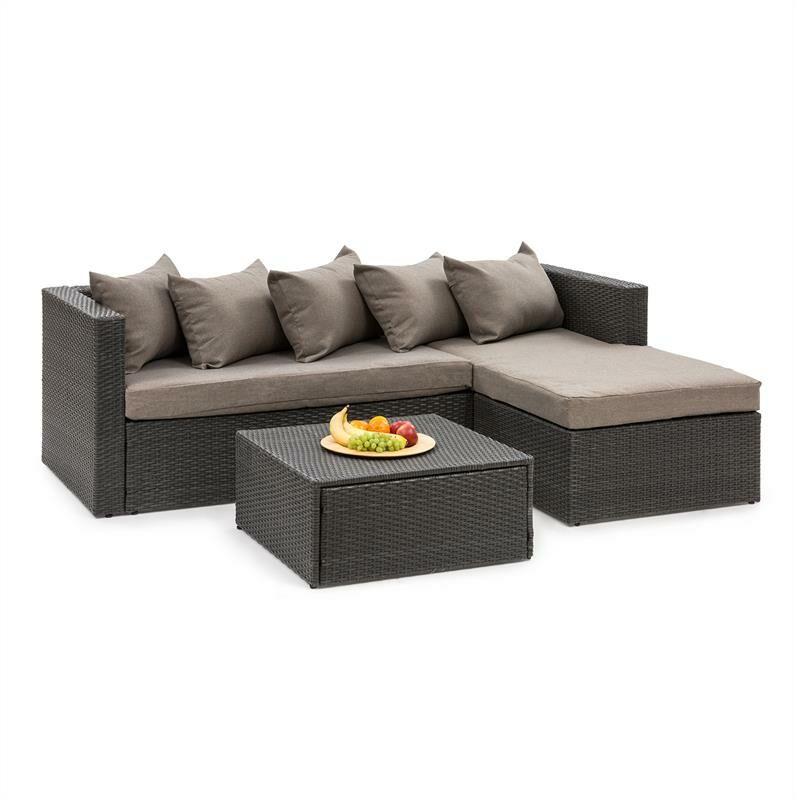 Blumfeldt - Theia Lounge Salon de jardin complet polyrotin noir & marron