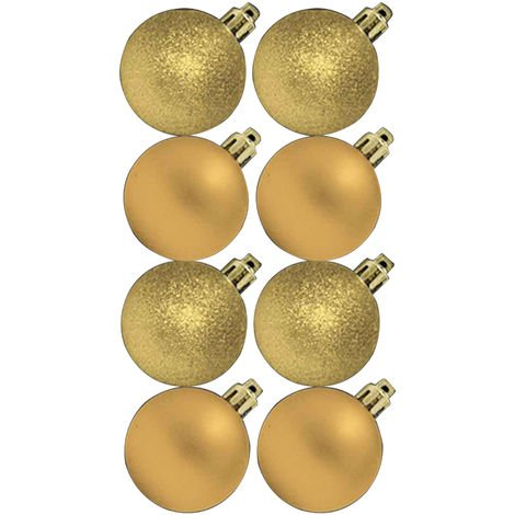 Theme Machine Glitter/Plain Christmas Tree Baubles (Pack Of 8) (One Size) (Gold)