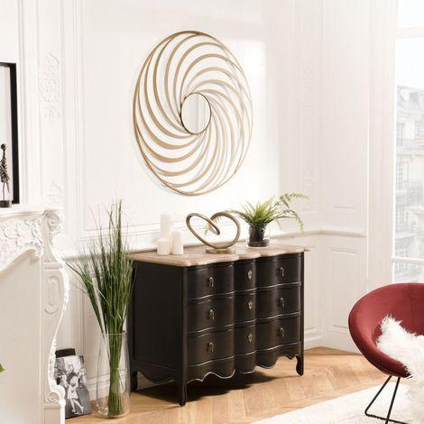 """main image of """"THEODORE - Miroir rond 100x100cm métal doré déco - Doré"""""""