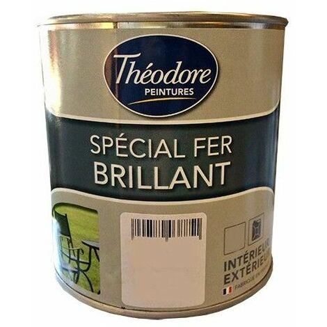 Théodore Peinture Spécial Fer Brillant Blanc 0,5 L - Blanc