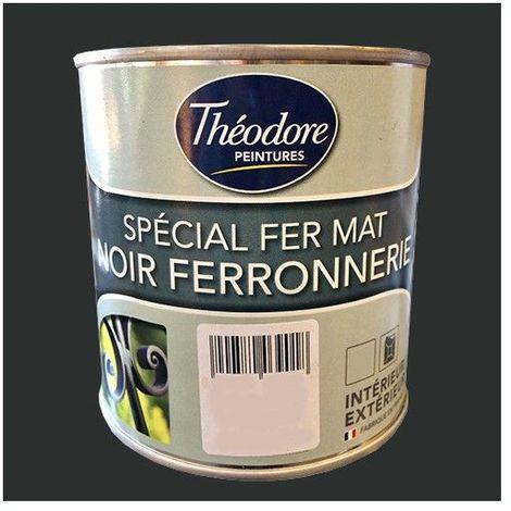 Théodore Peinture Spécial Fer Mat Noir ferronnerie - 0,5 L