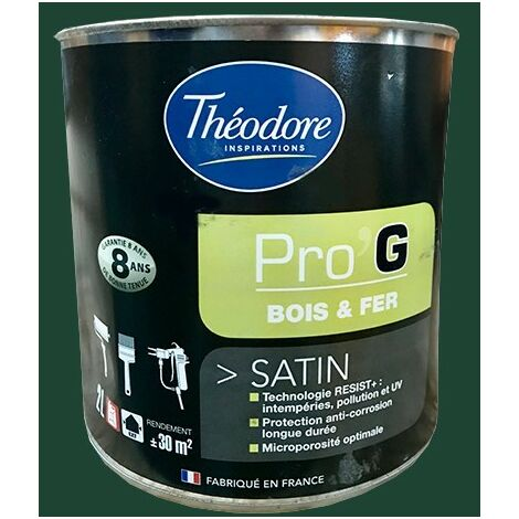 "main image of ""Théodore Pro'G Peinture Bois & Fer Vert jardin 0,5 L - Vert jardin"""