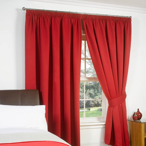 Thermal Pencil Pleat Blackout PAIR Curtains Ready Made Fully Lined - Red 66x72