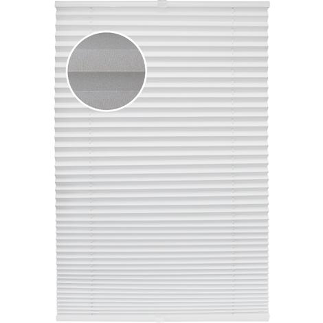 Thermo Plissee Weiß verschiedene Größen verspannt ohne Bohren Plissee Rollo Fertigplissee Sichtschutz