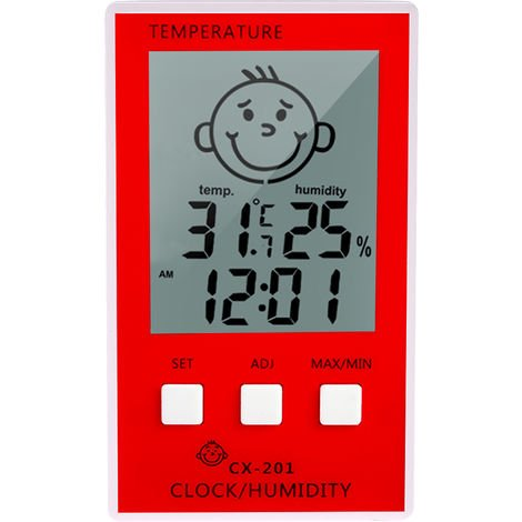 Thermometer Hygrometer Clock Temperature Humidity Measurement CX-201 Red