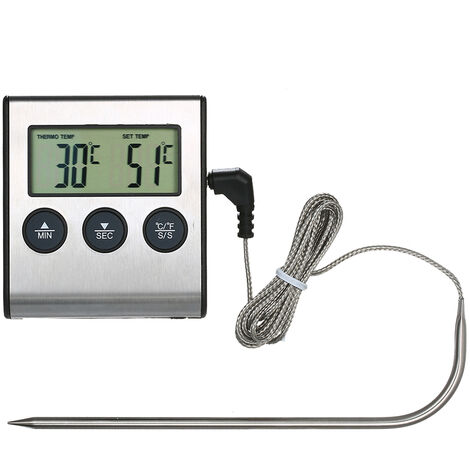 Thermometre Alimentaire, 0 ~ 250 ¡ã C, Avec Fonction Reveil, Affichage Lcd