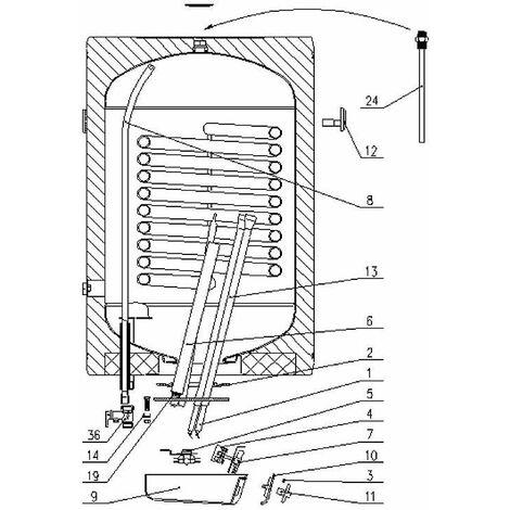 Thermometre bi-metal pour ballon eau chaude EVENES GBK