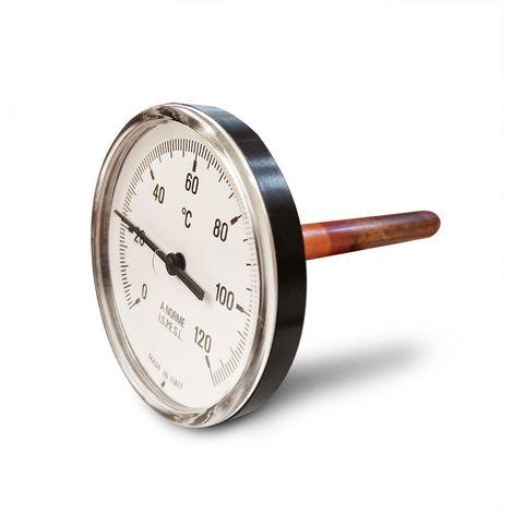 """Thermomètre bimétallique avec boîtier en matière thermoplastique, échelle 0-120 °C, puits 1/2"""" - L=10 cm"""