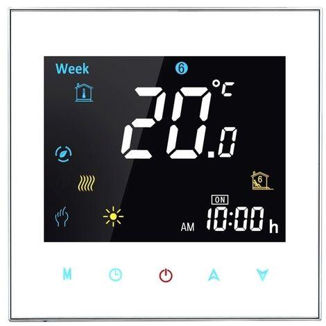 Thermomètre blanc Type de chauffage électronique LCD Digital Thermostat de la salle de avec capteur, Affichage Horloge / Tempéra