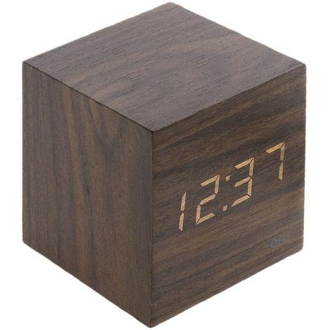 Thermomètre cube finition effet bois blanc cérusé, chêne, ébène et pin naturel