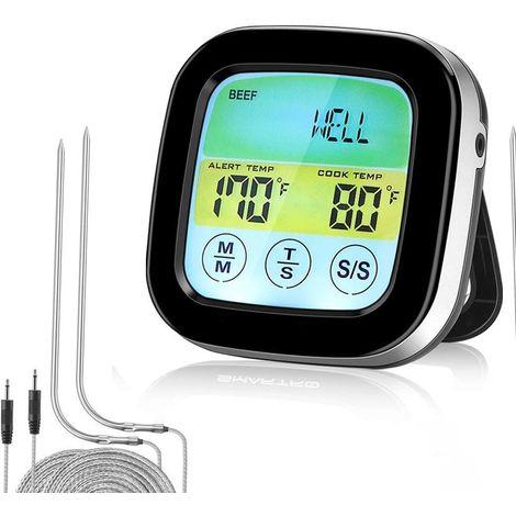 Thermomètre de barbecue sans fil pour griller, thermomètre à viande numérique avec deux sondes, minuterie, alarme, thermomètre de fumage de cuisson pour cuisine, four, aliments avec 2 sondes et minuterie