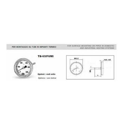 Thermomètre de combustion du four à 500 degrés tige TB-63 fumées 100 mm