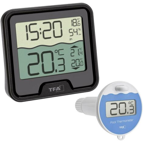 Thermomètre de piscine TFA Dostmann Funk-Poolthermometer Marbella 30.3066.01 noir 1 pc(s)