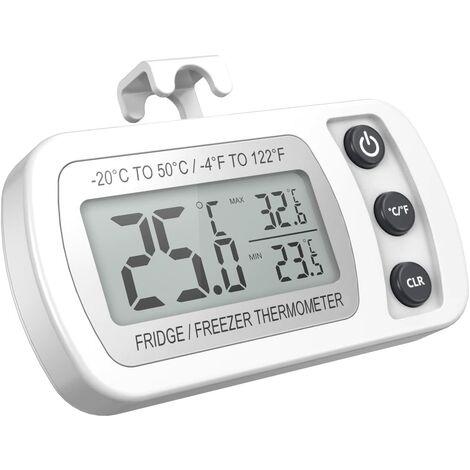 """main image of """"Thermomètre de réfrigérateur Affichage LCD Thermomètre de congélation étanche numérique avec crochet magnétique Thermomètre de réfrigérateur blanc (-20 ~ 50 ℃)"""""""