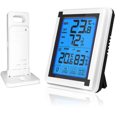 Thermometre et hygrometre numerique sans fil LCD grand ecran tactile avec emetteur (livresans batterie)