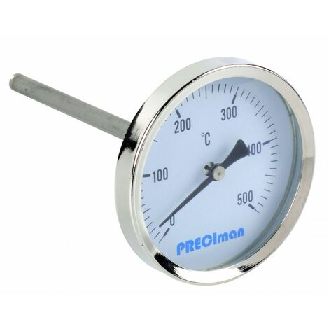 Thermomètre fumée en inox racc.axial D.64 de 0 à +500°C L.10cm