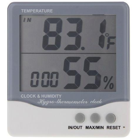 Thermomètre gris Extérieure / Intérieure LCD Numérique électronique Hygromètre Réveil