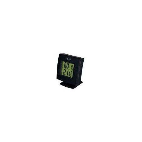 Thermomètre/hygromètre HH-22 noir, alu et bois