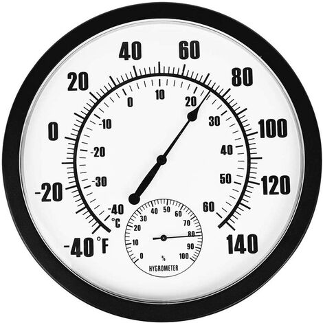 Thermomètre Hygromètre Indicateur Suspendu Murale Rond Horloge Intérieur et Extérieur pour Jardinage Industrie Laboratoire Usine Pharmacie, Diamètre 25 cm