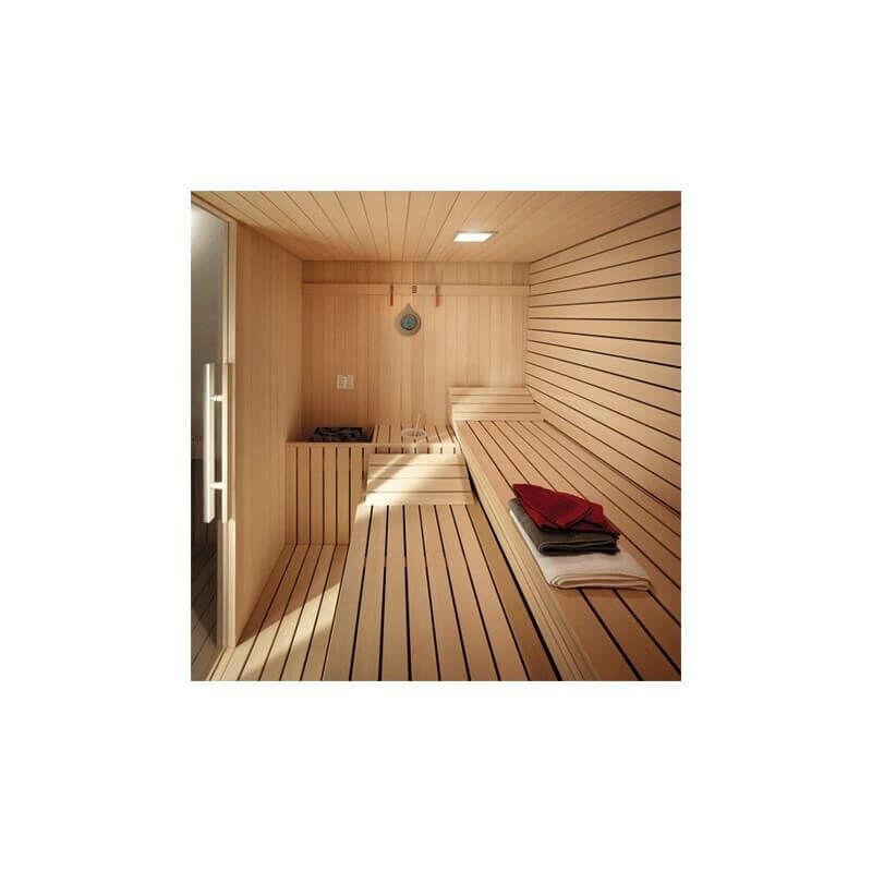 Desineo Thermom/ètre Hygrom/ètre SAWO en Pin pour Sauna Fond dor/é