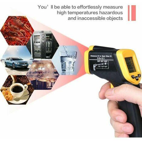 Thermomètre infrarouge Temperature Laser Sans Contact Pistolet Temperature LCD 58°F~ 932°F(-20°C~380°C) Tenue Maison Industrie Cuisine,Facile à utiliser