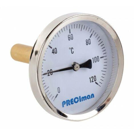 Thermomètre inox racc. axial D.100 de 0 à 60° C L.5cm+doigt de gant