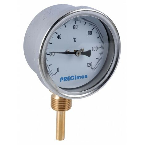 Thermomètre inox raccordement vertical D.100 de 0 à 120°C L.5 cm