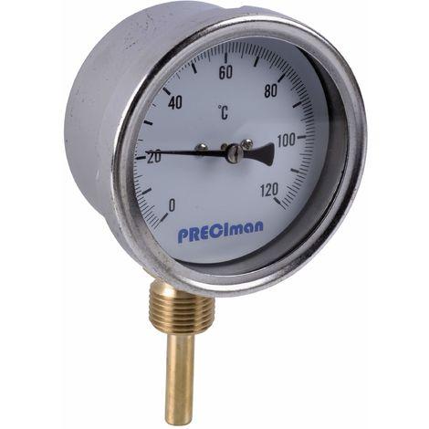 Thermomètre inox raccordement vertical D.65 de 0 à 120°C L.5 cm