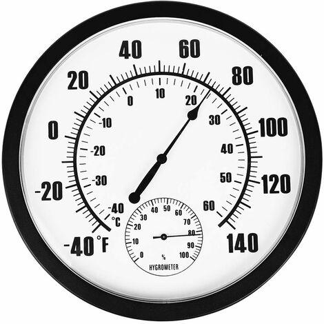 Thermomètre Intérieur Extérieur 10 Grand Thermomètre et hygromètre mural pour patio, aucune pile n'est requise pour vous permettre de voir la température et l'humidité de la journée à distance
