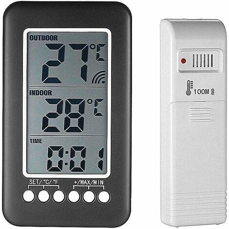 Thermomètre interieur exterieur sans fil avec horloge Numérique station meteo sans fil avec capteur extérieur, black friday 2020 Moniteur de Température Affichage LCD intelligent ° C / ° F
