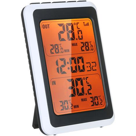 """main image of """"Thermometre Interieur Exterieur Sans Fil Sans Temperature Numerique Moniteur Jusqu'A 328Ft Avec Le Temps Reveil Retro-Eclairage"""""""