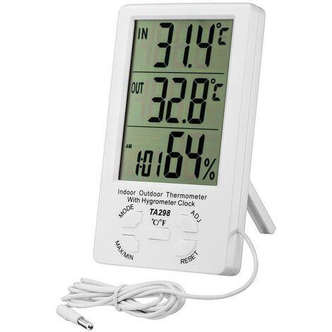 """main image of """"Thermomètre Intérieur Extérieur, Thermomètre Hygromètre Digital, LCD Thermo-hygromètre avec Horloge, Min/Max Records, °C/°F Commutateur, Moniteur de Température et d'humidité"""""""