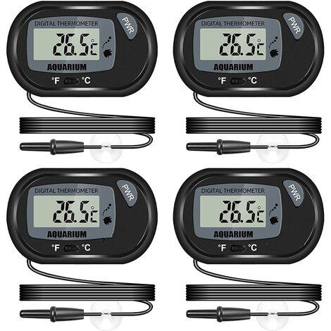Thermomètre LCD Numérique d'aquarium avec Ventouses et Sonde Étanche pour Aquarium Fish Tank, Vivarium Reptile Terrarium (4PCS)