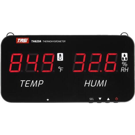 Thermometre mural industriel TASI TA623A LED thermometre interieur grand ecran numerique thermometre interieur temperature et humiditea effet de serre noir