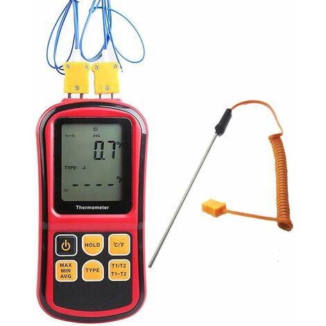 Thermomètre numérique à Double Canal avec rétro-éclairage LCD pour thermocouple K/J/T/E/R/S/N
