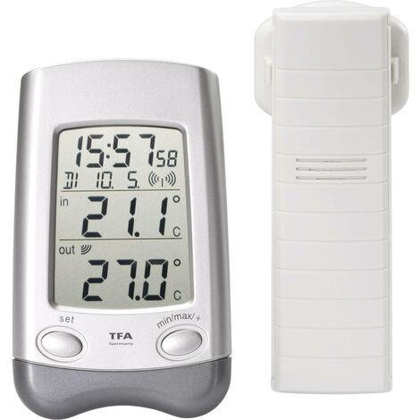 Thermomètre radiopiloté TFA Dostmann Wave argent