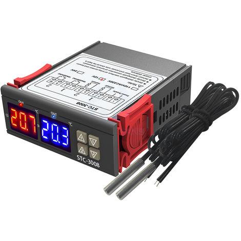 Thermostat A Affichage Numerique Double, Avec Sonde Double Ntc, 12V