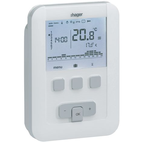 Thermostat ambiance programmable digital chauf eau chaude 4 fils sur 7j 230v
