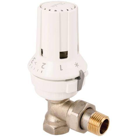 """Thermostat avec robinet thermostatique 1/2"""" en forme d'équerre et tête thermostatique."""