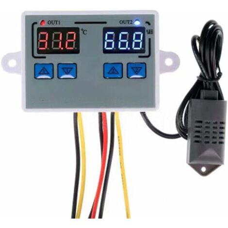 Thermostat, ContrôLeur De TempéRature De Sortie d'Humidité NuméRique Thermostat De RéFrigéRateur Domestique Humidistat 10A ContrôLe Direct De l'HygromèTre Du ThermomèTre (DC 12V)