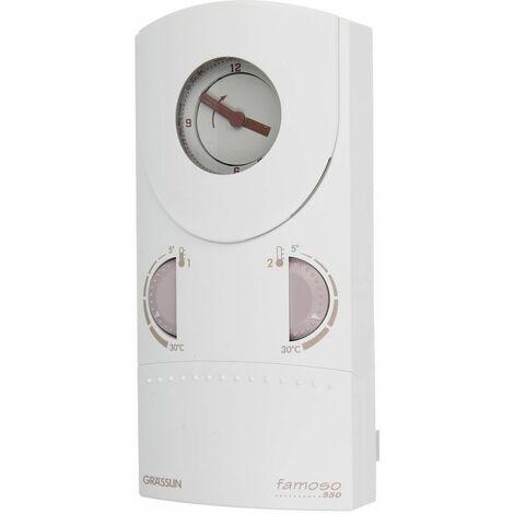 Thermostat d'ambiance à horloge Grässlin famoso 550