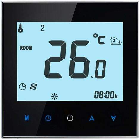 Thermostat de chauffage electrique au sol ecran tactile LCD Regulateur de temperature programmable