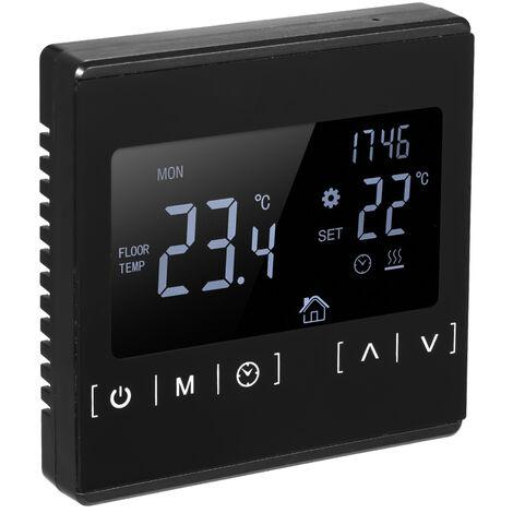 Thermostat de chauffage par le sol electrique a ecran tactile thermostat de chauffage de l'eau MH1822 noir