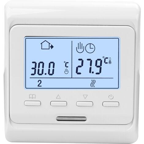 Thermostat de chauffage par le sol pour chauffage electrique haute puissance Thermostat de chauffage par le sol a double temperature et double commande Boutons retroeclaires blancs sans Wifi