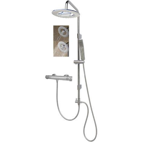 Thermostat Duscharmatur Duschsystem Duschset Wasserfall Regendusche Brausegarnitur verstellbare Wandhalterung Chrom