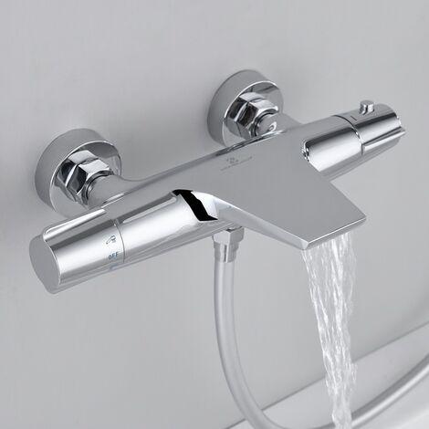 Thermostat Duscharmatur mit Sicherheitsknopf 40℃, Duschen Armatur Duschthermostat Brausethermostat Armatur Bad Mischbatterie Chrom