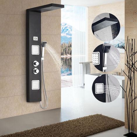 Thermostat Duschpaneel aus Edelstahl SUS304 LCD Wassertemperatur Digitalanzeige Brausepaneel Massagendüsen mit Regendusche, Handbrause für Badezimmer