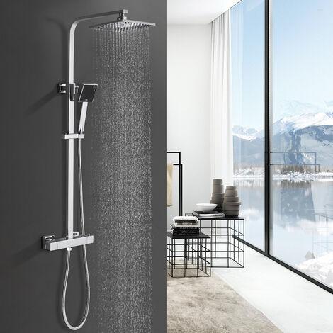 Duschesystem mit Thermostat, BONADE Duscharmatur Thermostat mit Regendusche und Handbrause, Edelstahl Dusche Duschset, höhenverstellbar, Chrom